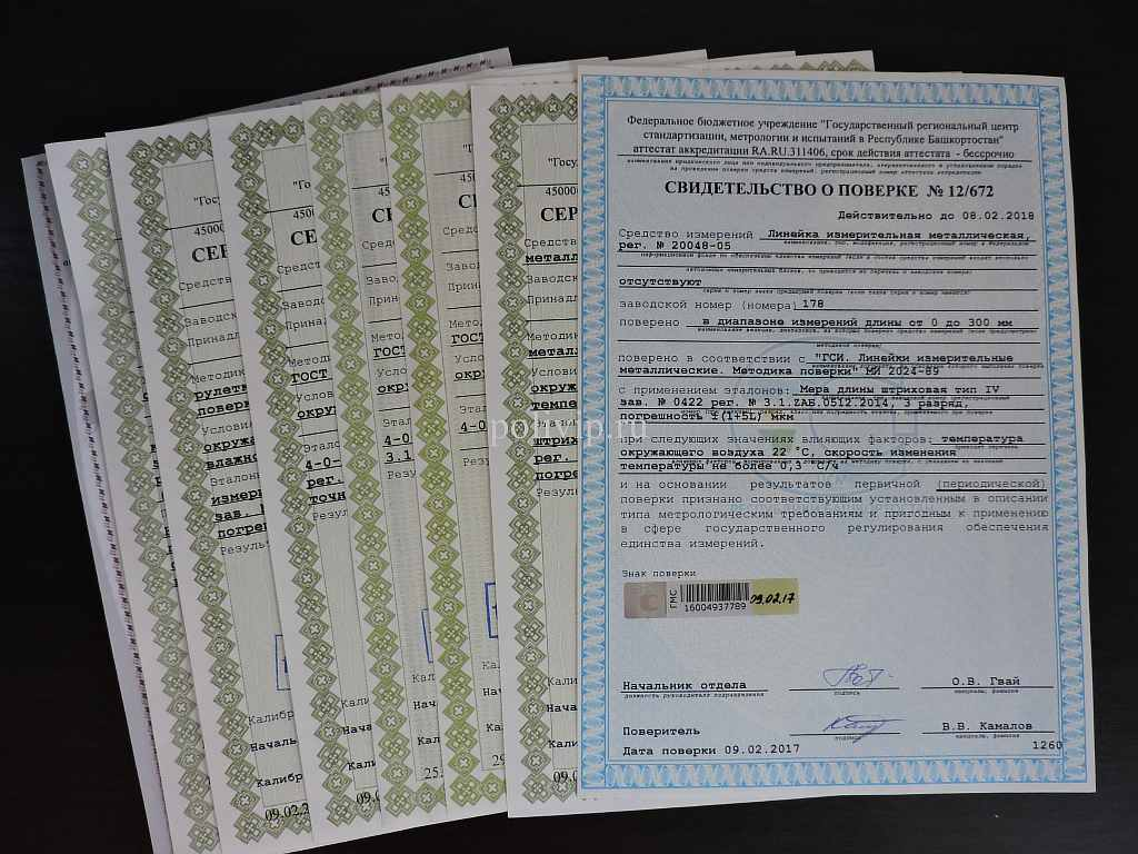 Сертификаты и свидетельства о поверке на приборы